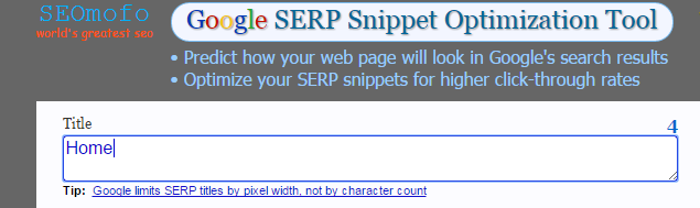 home page meta description